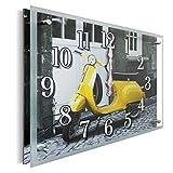 YS-Art | 30x40 cm | reloj de pared con estampa debajo del vidrio | mecanismo silencioso | números grandes | reloj de pared con cristal natural | Para dormitorio, salón, cocina, oficina