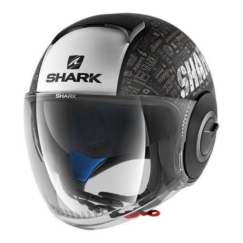Shark Nano Tribute, casco da moto, nero/bianco, taglia M