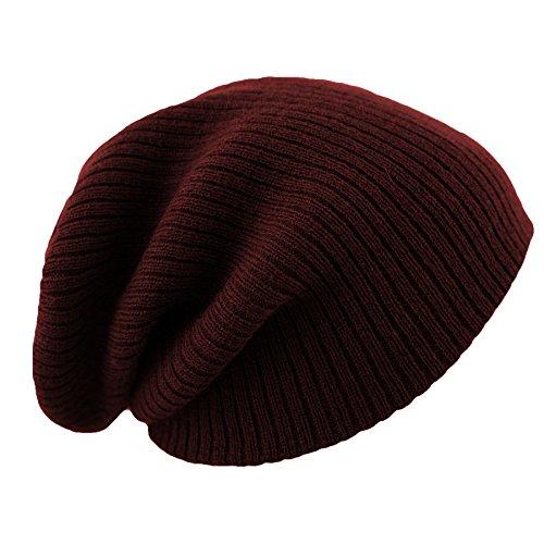 Slouch Bonnet d'hiver unisexe Uni Beanie Bonnet d'hiver Ski Fabriqué au Royaume-Uni bordeaux