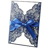 20 x Laser Cut 18 * 12cm Blau Elegant Hochzeitseinladung Einladungskarten Einladung Grußkarten mit Umschläge & Schleifenband Dekoband Geburtstag Taufe Party Gastgeschenk Hochzeit