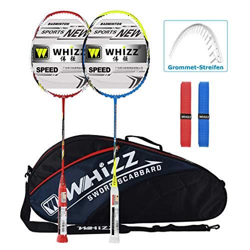 Whizz Badminton Schläger Set Racket 100% Graphit Carbon 2 STK. Verbesserte Version mit Rahmen Schutzhülle & Schlägertasche & 2 Griffbänder (Y56 Rot+Blau)