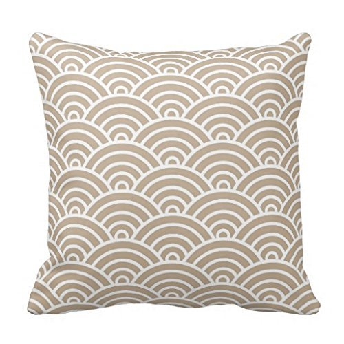 Classic Art Deco Scales In Tan And White Throw Pillow Case