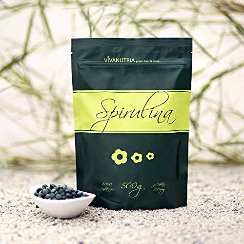VivaNutria Spirulina pure, 4000 Presslinge, 1kg, Rohkostqualität