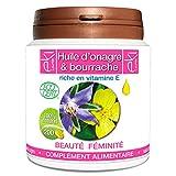 Complexe 2 Huiles | Onagre Bio | Bourrache Bio | Vitamine E | 200 capsules | Beauté...