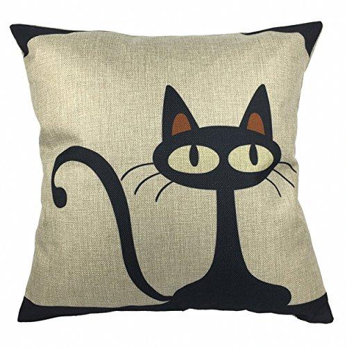 endenkissen Pillowcase Auto Haus Deko 18 x 18 '' Schwarz Katze (Halloween Schwarze Katze Vintage)