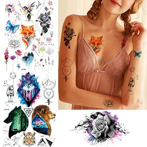 MRKAL Flash Geometrische Blume Tattoo Frauen Lion Tribal Wolf Aquarell Temporäre Tätowierung Aufkleber Fox Bird Raum Körper Gefälschte Tattoos Paste 21X15 cm