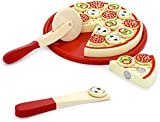 Vortigern #51026 - Wooden Chop and Play Cutting Pepperoni Pizza Party Food Set + Pizza Wheel