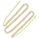 #9: PCM Three line Stone Gold Plated Belly Hips Chain Kamarband For Women