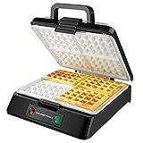 GOURMETmaxx 02651 Macchina Per Waffle | Waffle Maker | Piastra Per Quattro Gaufre | Pratica e Leggera | 1200 W | Nero