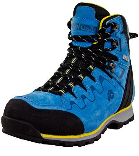 GUGGEN Mountain PM025 Damen Trekking-& Wanderstiefel Wanderschuhe Trekkingschuhe Outdoorschuhe wasserdicht mit Membran und Leder Farbe Blau-Gelb EU 38