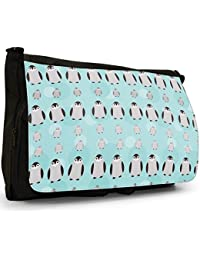 Cute Cuddly Animal Unicorn Pattern Large Messenger Black Canvas Shoulder Bag - School / Laptop Bag