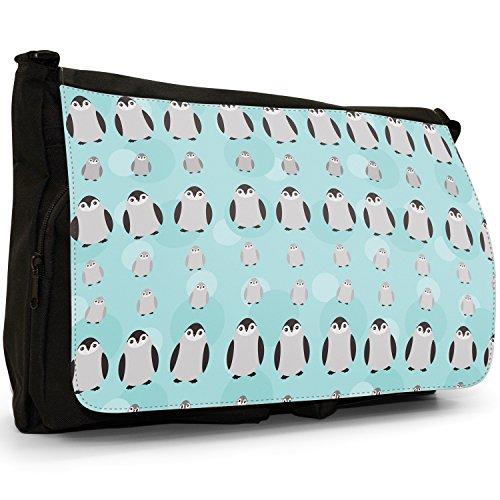 Tenero animale Unicorno Pattern–Borsa Tracolla Tela Nera Grande Scuola/Borsa Per Laptop Black Grey White Penguins