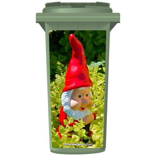 Red Gnome In The Garden Wheelie Bin Sticker Panel Large