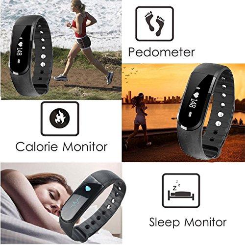 Herzfrequenz Fitness Tracker,CAMTOA ID101 Fitness Armband Pulsuhr Aktivitätstracker Wasserdicht IP67 – Schrittzähler,SMS Anrufe,Kalorienverbrauch,Kamera-Fernbedienung,ID Benachrichtigung,Musiksteuerung und Handy-Suchfunktion(USB Anschluss direkt laden) Schwarz - 3