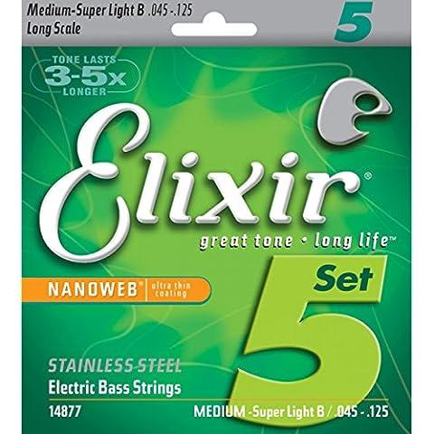 Elixir 14877 - Cuerdas para bajo eléctrico (recubrimiento nanoweb ultrafino, acero inoxidable, calibre Medium Super Light B, 5 cuerdas, 0,045 - 0,125)