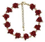 Jodie Rose Armband, Vergoldet, mit Einem Dutzend roten Rosen, Länge 20–25cm
