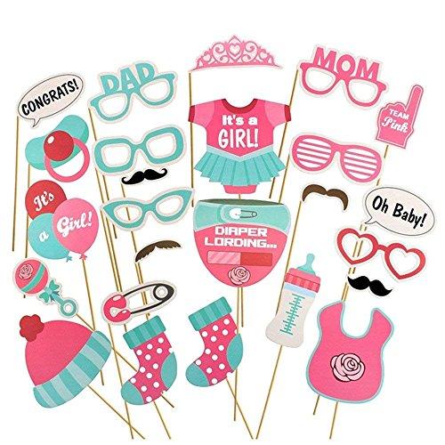 et mit Photoprops zur Baby-Girl-Feier Foto Requisiten Set pink und Aqua Verschiedene Baby Design Cut Outs ()