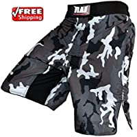 Pantalones cortos Rad, para boxeo, artes marciales mixtas, Grappling, UFC, Kick Boxing, Muay Thai camuflaje gris, para hombre, hombre, X-Large