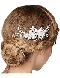 Mujer peines cuentas Strass cristal flores pelo joyas boda