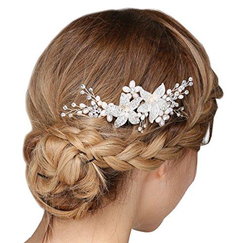 Braut Vintage Silber Haar Kamm Crystal Strass Perle Blume Hochzeit Haarschmuck