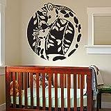 yaoxingfu Adesivo per pareti in Vinile Adesivo Giraffa Cerchio Decorazioni per la Camera dei Bambini Decorazioni per camerette per Bambini Opere d'Arte Giallo 57x61cm