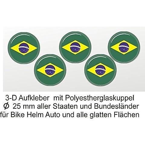 3d etiqueta redonda, Brasil, adhesivo en 3D, países Decorar, cubierto con cúpula de PVC, 25mm