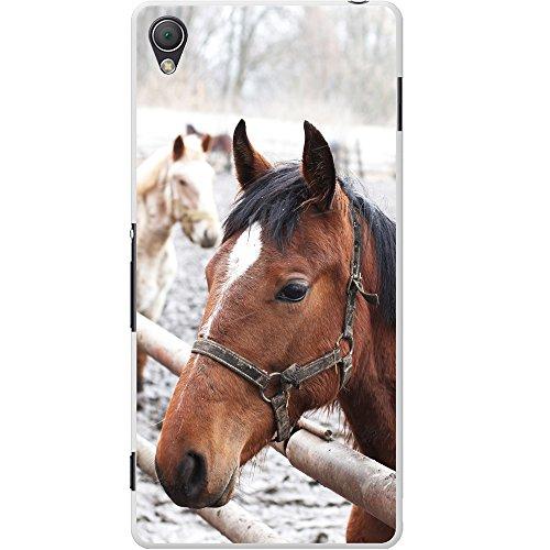 Fancy A Snuggle Braunes Pferd Porträt in Schnee Hartschalenhülle Telefonhülle zum Aufstecken für Sony Xperia Z3 Plus (Santa Telefon C)