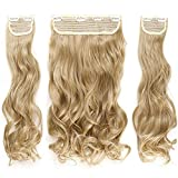 TESS Clip in Extensions wie Echthaar Haarverlängerung Mittelblond Haarteile 3 Tressen 8 Clips dicke komplette Haarverdichtung Gewellt 20