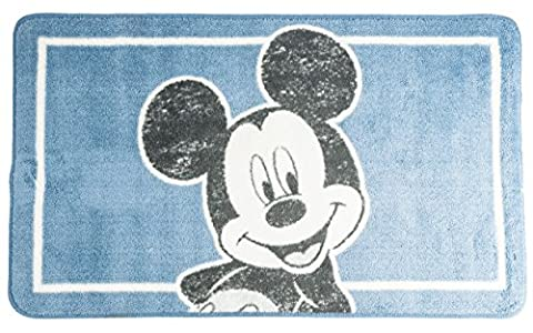 Disney Mickey Mouse Soft Non Slip Rubber Backed Childrens Bath Mat Rectangular 85cm x 50cm/20 x 33.5 Washable Kids Bathroom Rug Boys Light Blue by Disney