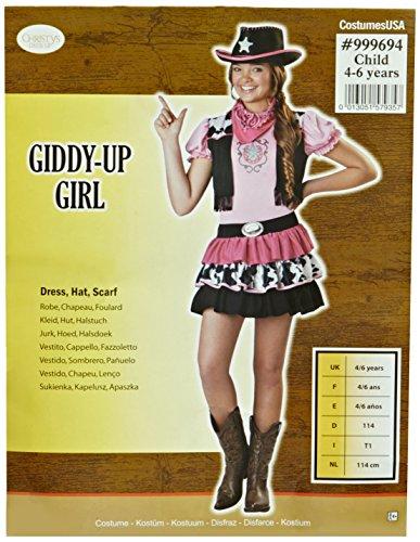 Cowgirl Kostüm Kinder Gr. 114 / 116 rosa Karneval Mädchen (Cowgirl Hut Kind Rosa)