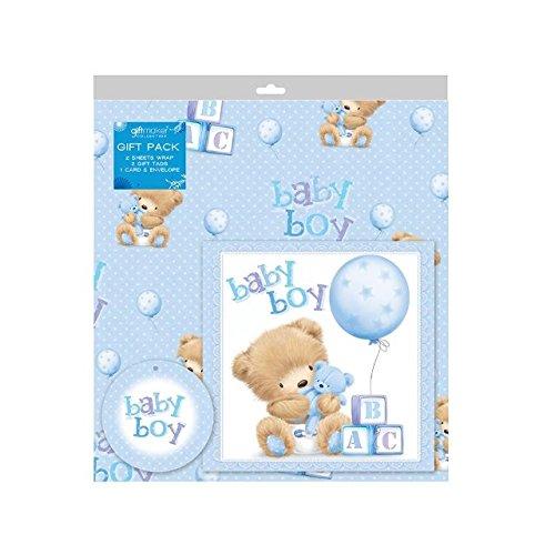 2 Feuilles de papier cadeau bébé garçon papier cadeau, carte et 2 étiquettes cadeau Bleu nouveau-né