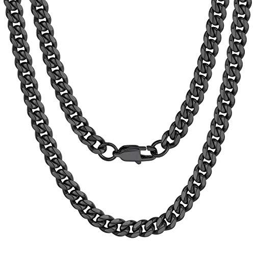 ChainsPro Panzerkette Name Initiale Alphabet Buchstaben ohne Anhänger Edelstah Halskette für Männer Herren mit 46cm Stahl (Mann-anhänger-halskette)