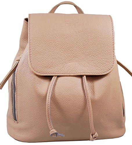 Ital. Echtleder Damen Rucksack Leichter Tagesrucksack Daypack Lederrucksack Damenrucksack versch. Farben erhältlich(Nude)