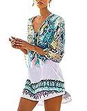 Jastore®Damen Einheit weiß Strandponcho Sommer Überwurf Kaftan Strandkleid Bikini Cover Up knitterfrei buntvoll Bälle (Einheit, Grünblau)