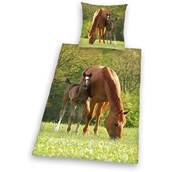 Herding 462428050 Pferde Bettwäsche, 80 x 80 cm + 135 x