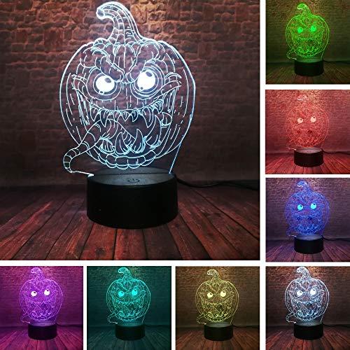 BDQZ Halloween Kürbis Lächeln Gesicht 3D Stereo Vision 7 Farbwechsel Baby Schlafen Nachtlicht Haunted House Party Illusion Weihnachtsgeschenke