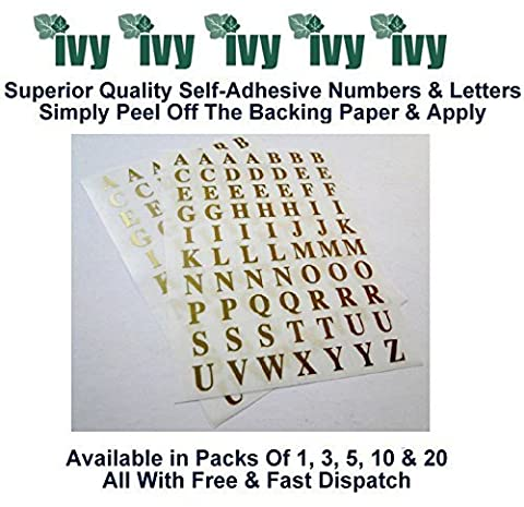 Ivy Stickers autocollants étiquette étiquettes 10 mm Taille 140 or lettres A-Z (Lot de 1)