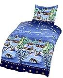 4tlg Warme Winter Bettwäsche Microfaser Thermo Fleece 2x 135 x 200 cm + 2x 80 cm x 80 cmNEU Stadt Dorf Land im Schnee mit Rehen Rehntieren