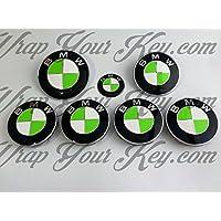 Bianco & Toxic Green BMW badge Emblem Overlay Hood tronco cerchioni Fits all BMW x gratuito