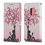 Galaxy S9 - Etui Ledertasche Blühender Baum Glitzer Effekt rosa