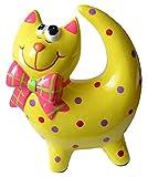 Lustige bunt bemalte Katze mit Fliege als Sparbüchse - Farbe: Gelb - Keramik - 18x10x20 cm