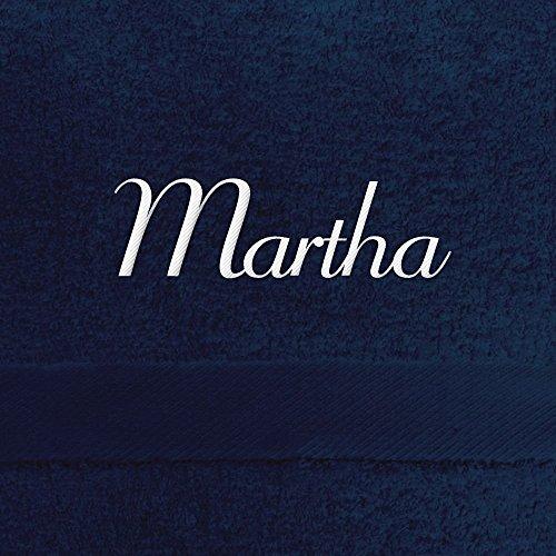 Handtuch mit Namen Martha bestickt, 50x100 cm, dunkelblau, extra flauschige 550 g/qm Baumwolle (100{9e831245231dc0dc8606f5af41a8e68c1375af57d2245cbc3af70721fa2b4f0c}), Badetuch mit Namen besticken, Duschtuch mit Bestickung