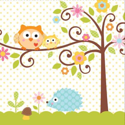 Unbekannt 16Stück Papier Lunch-Servietten, Happi Tree Sweet Baby (Eule Dekorationen Junge Für Baby-dusche)