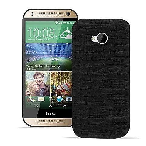 HTC One M7 Brushed Backcover Rückschale gebürstete Hülle kratzfestes TPU Silikon Farbe: Schwarz