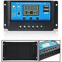MOHOO controlador de carga solar panel de la pantalla LCD del controlador controlador de carga solar hogar inteligente 20A 12V-24V con USB