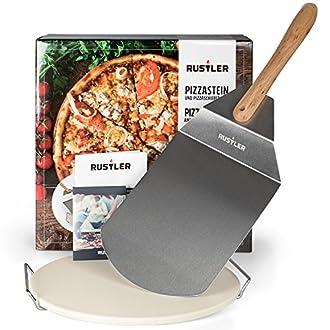 Pizzastein rund 38 cm Pizzaschieber Edelstahl Geschenkverpackung