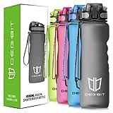 Degbit Trinkflasche, [BPA Frei Tritan] 1L/650/500/350ML Auslaufsicher Kunststoff Wasserflaschen Sport, Flip Top Öffnet mit 1-klick, Sportflasche Fahrrad Flasche für Kinder (650ML, Schwarz)