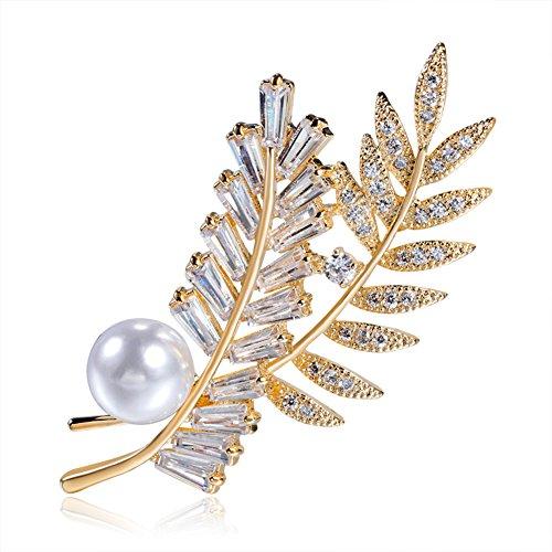 Hanie Damen Perle Brosche Blumen Blatt Gold Anstecknadel Weiß Zirkonia mit Vergoldet Edelstahl Kette können auch als Halskette tragen Passt Pullover Mantel Anzug Abendkleider