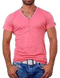 Young and Rich - T shirt blanc col v T shirt YR1444 rose - Rose