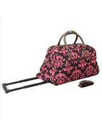 All-Seasons 8112022-632 21 In. Designer Prints Damask Carry-On Rolling Duffel Bag Brown & Pink